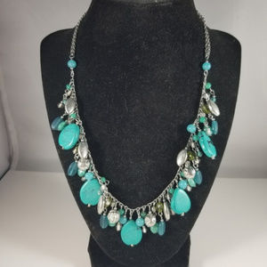Jewelry - Faux Turquoise Silvertone Cluster Necklace